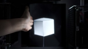 Interaction between virtual cube and real hand